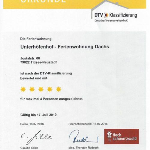 """Urkunde der Ferienwohnung """"Dachs"""" – Unterhöfenhof"""