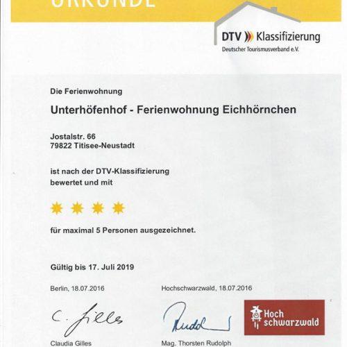 """Urkunde der Ferienwohnung """"Eichhörnchen"""" – Unterhöfenhof"""