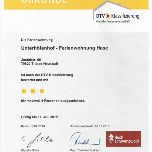 """Urkunde der Ferienwohnung """"Hase"""" – Unterhöfenhof"""