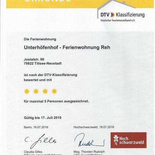 """Urkunde der Ferienwohnung """"Reh"""" – Unterhöfenhof"""