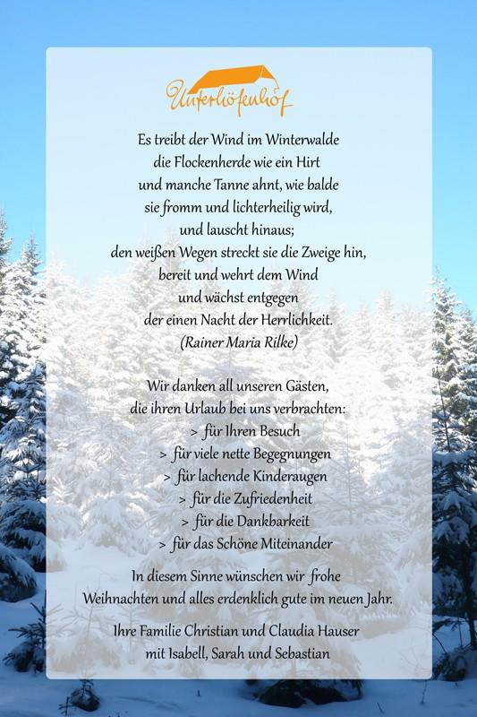 Frohe Weihnachten wünscht Unterhöfenhof Ferienwohnungen