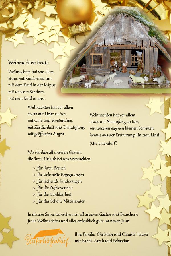 In Diesem Sinne Frohe Weihnachten.Frohe Weihnachten Wünscht Unterhöfenhof Ferienwohnungen