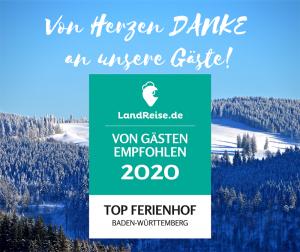 TOP Ferienhof Baden-Würrtemberg Auszeichnung von landreise.de
