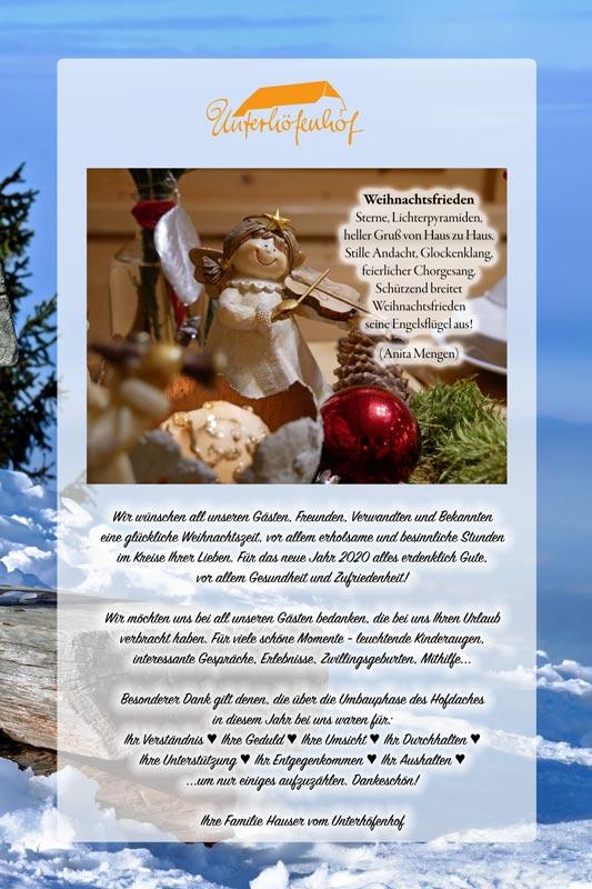 Fröhliche Weihnachten 2019 - wünscht der Unterhöfenhof